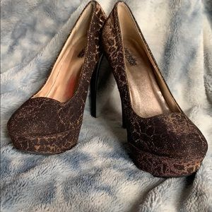 Size 7 rose gold/ brown shiny high heels
